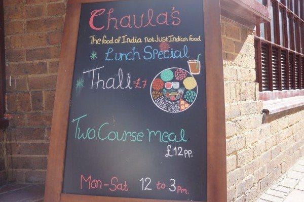 lunch menu sign chaulas