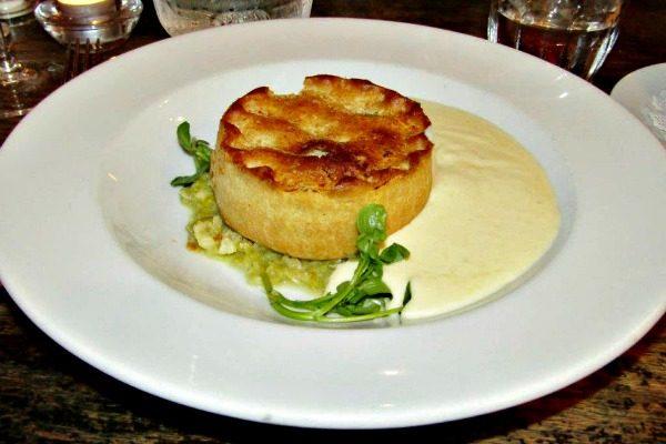 Cheese Pie with Mashed Potato Gravy at Pub Du Vin