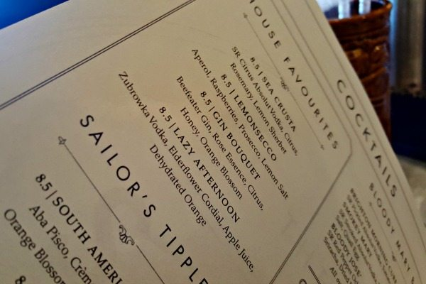 Cocktail Menu at The Salt Room