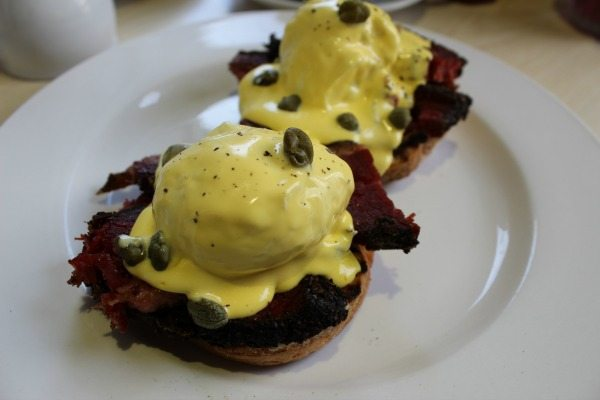 Pastrami, poached egg and hollandaise muffin at V and H Cafe