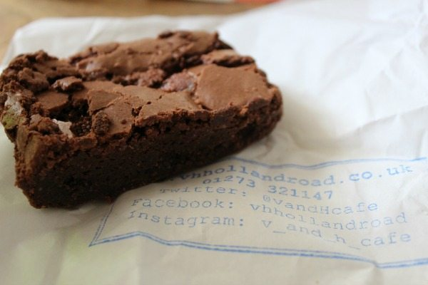 Salted caramel chocolate brownie at V and H Cafe