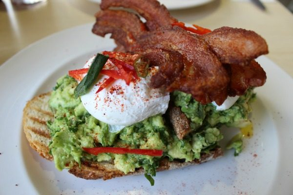 Smashed avocado, poached egg, crispy bacon at V and H Cafe (1)