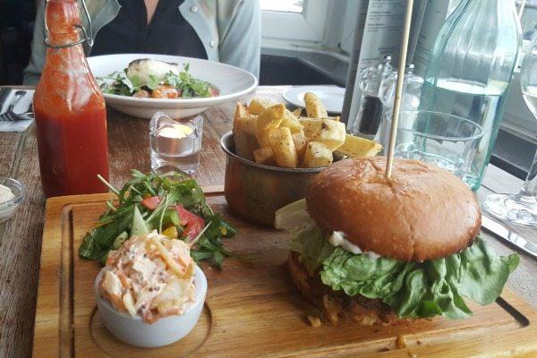 Vegetarian Burger at the Schooner