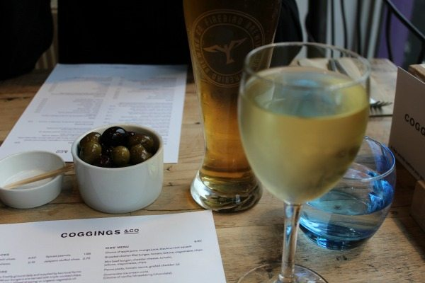 Beer wine and olives at Coggings and Co