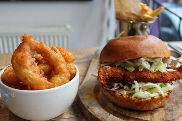Chicken burger and onion rings at Coggings and Co