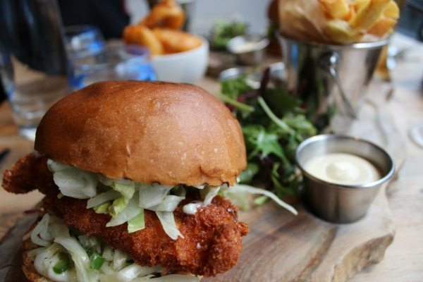Chicken burger at Coggings and co