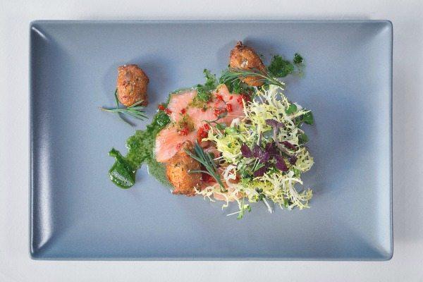 Sea trout starter at Drakes Restaurant Brighton