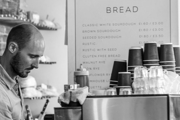 Barista at Flour Pot Bakery, Sydney Street vegetarian vegan Brighton