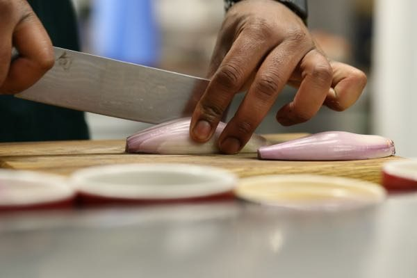 Chef cutting shallotees - How to make Béarnaise sauce, Grow 40, Restaurant, North Laine, Brighton