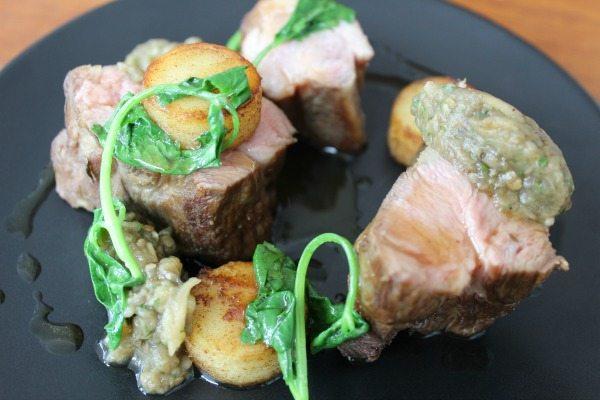 Lamb Neck, Aubergine Caviar, Ratte Potato & Garlic at Isaac At