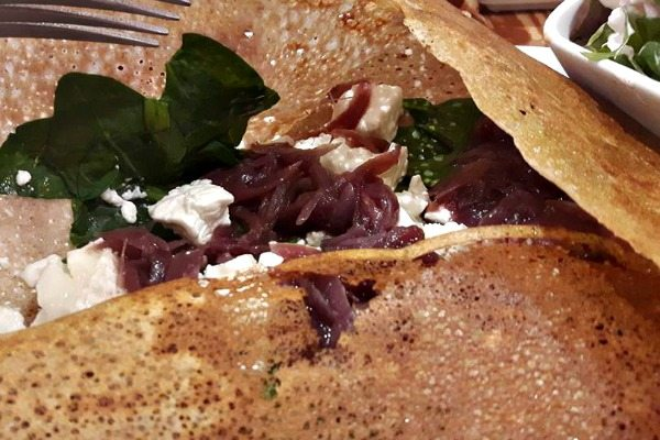 The Creperie goats cheese and caramelised onion galette
