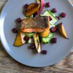 Salmon dish at The Crabtree Pub, Sussex