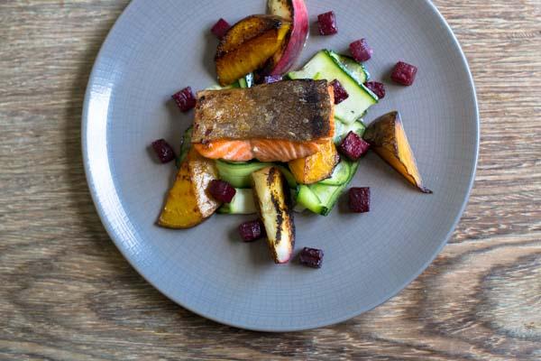 Salmon dish at The Crabtree Pub, Sussex