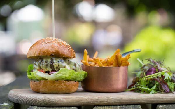 Burger and chips at the Crabtree Pub