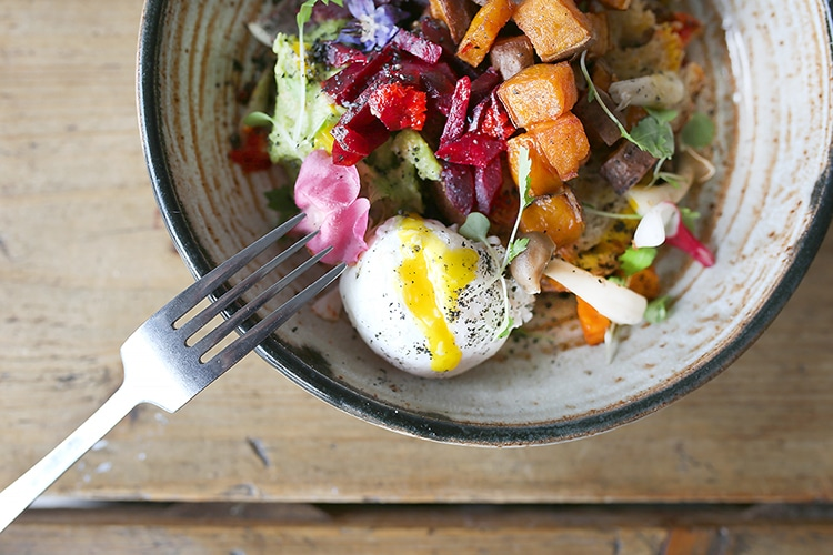 salad, egg, vegetables, Lucky Beach, Brighton, seafront, cafe, gluten free restaurants Brighton,