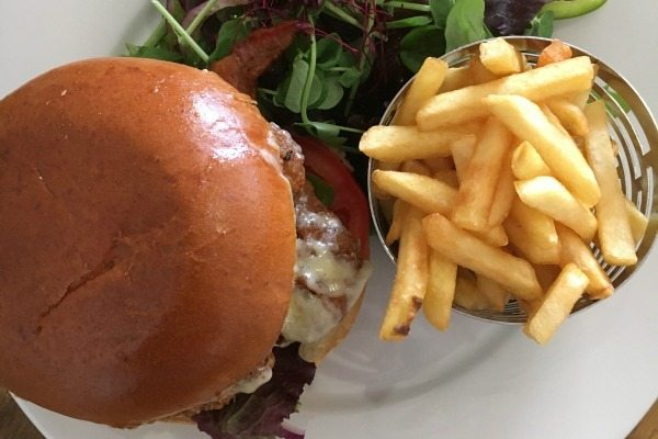 aerial view of burger and chips at bucket and spade cafe