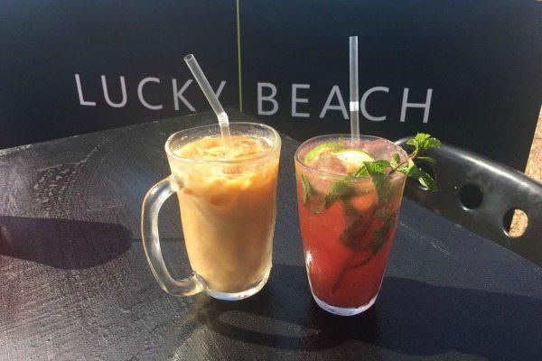 lucky beach iced almond coffee abd watermelon juice