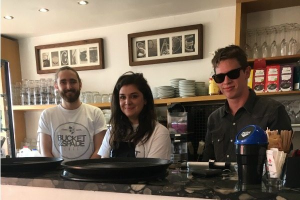 smiling staff at bucket and spade cafe