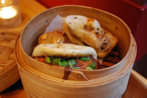 terre a terre, bamboo steamer with halloumi bun