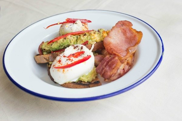 V&H Cafe, Holland Road, Smashed Avocado on toast with poached eggs and bacon
