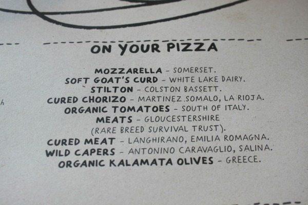close up of menu at franco manca brighton