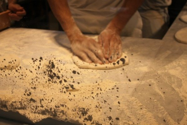 chef making pizza dough at franco manca brighton