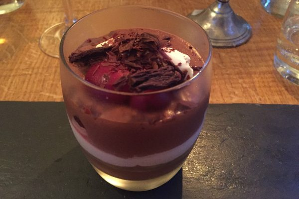 chocolate and cherry dessert at The Crabtree Pub