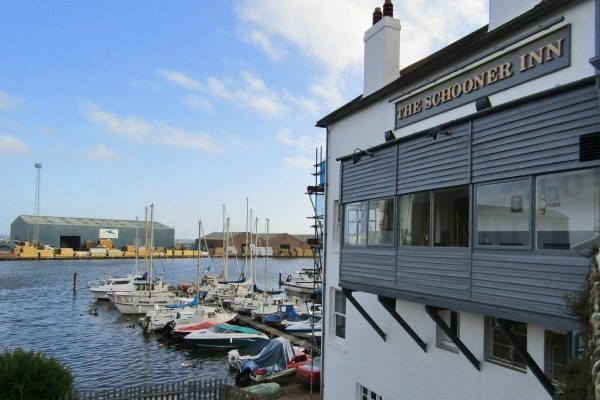 the view from the schooner pub in southwick over the harbour