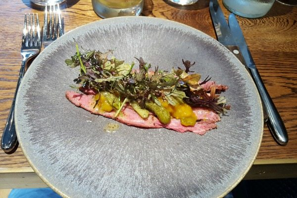 salt beef starter at the coal shed restaurant