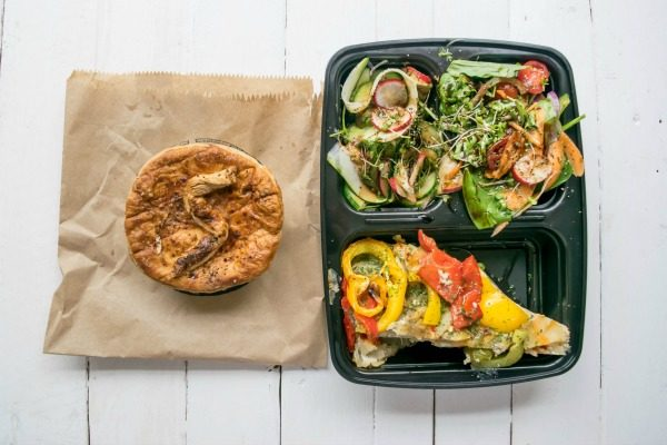 pie and salad from cafe plenty in brighton