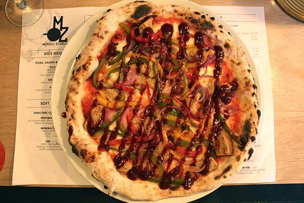Veggie BBQ Chicken pizza, Morelli Zorelli