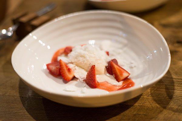 Dessert at Isaac At, Strawberries & Ice cream with milk foam