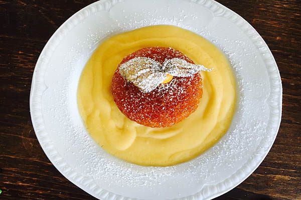 Sponge pudding & custard at The Sportsman Pub