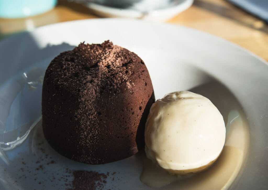 Chocolate fondant at Semolina, Brighton