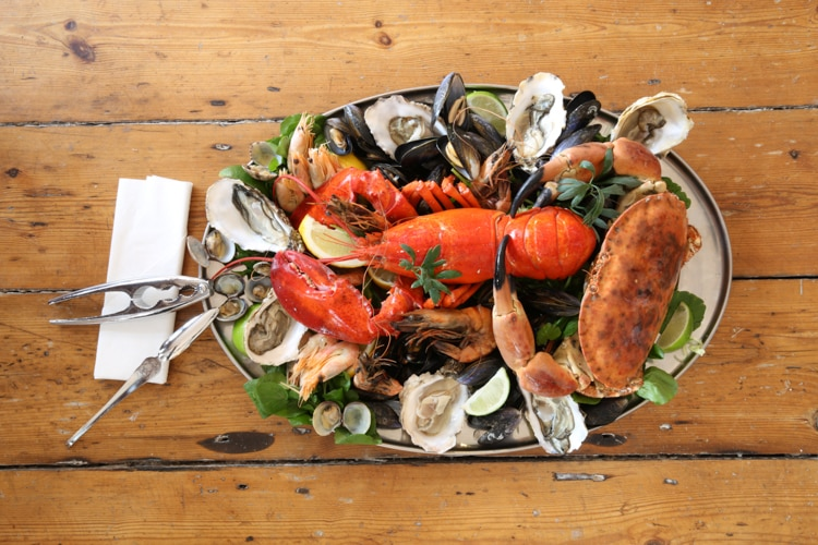 Seafood platter with lobster from above