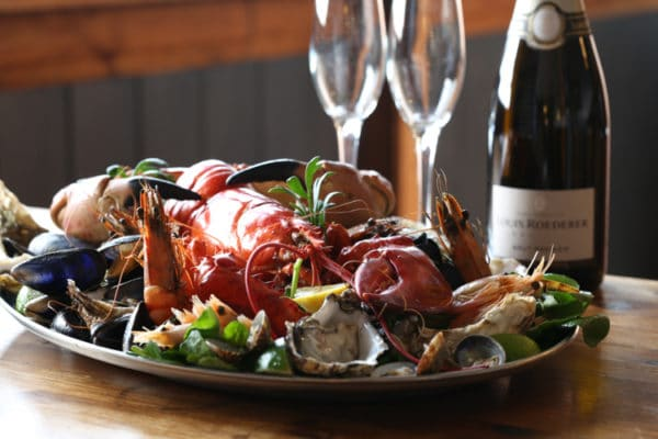 Lobster, seafood platter and champagne