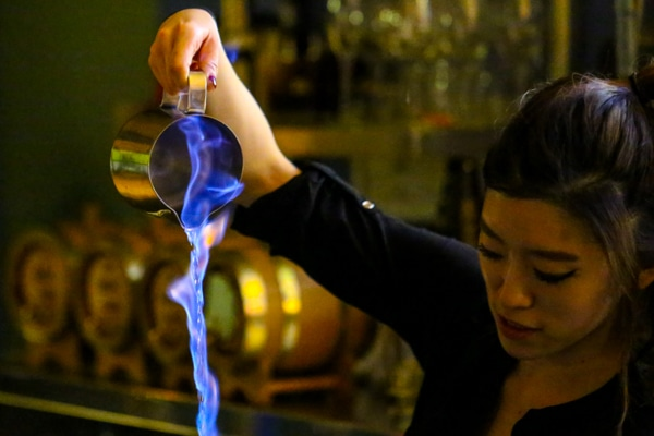Flaming cocktails at Merkaba, Brighton