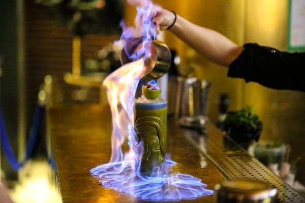 More flaming cocktails at at Merkaba, Brighton