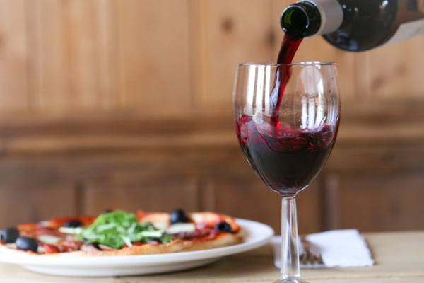 red wine and pizza at the bull inn in henfield