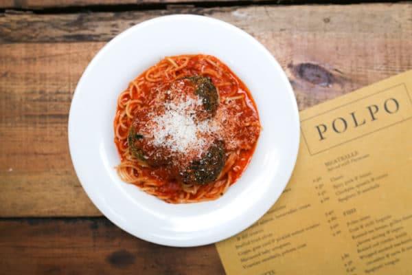 Meatballs and menu at Polpo