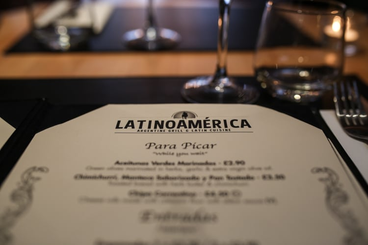 LatinoAmerica menu