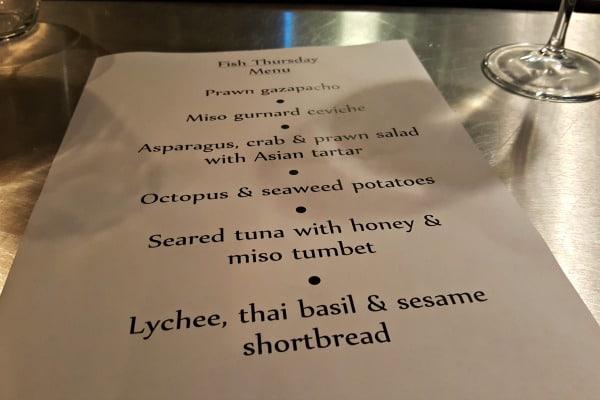 menu at senor buddha fish thursday