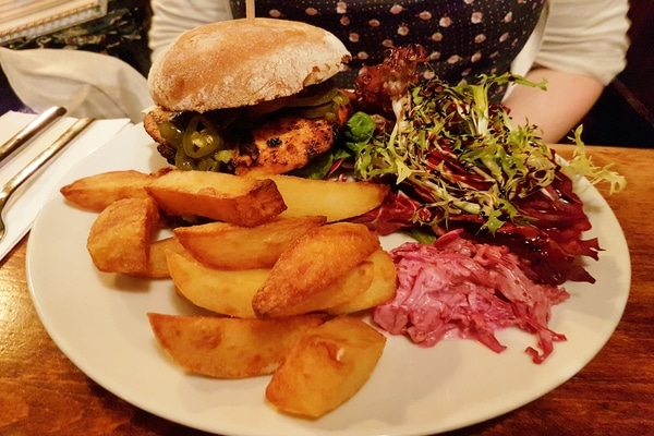 cajun chicken burger and chips at the plough inn