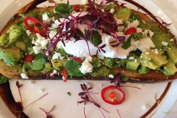 avocado and chilli with feta on toast