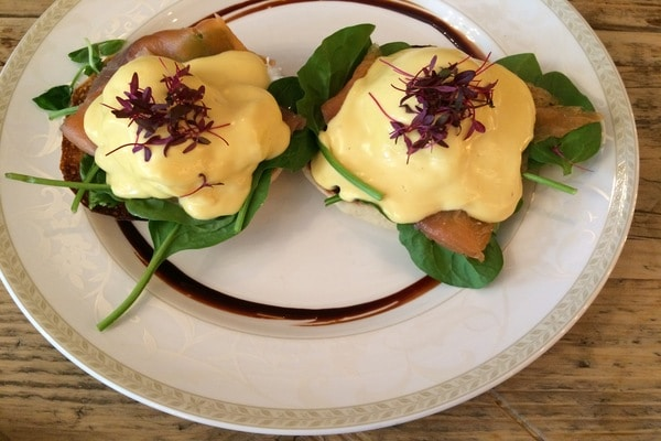 eggs benedict at trading post