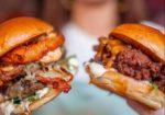 Two burgers at Sidekick Kitchen Brighton