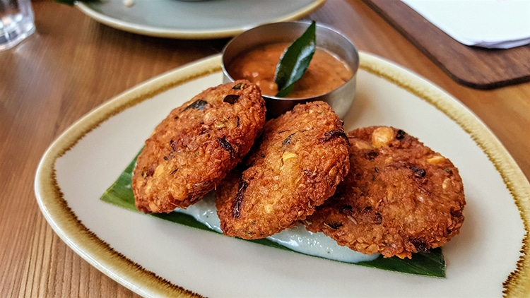 Curry Leaf Kemptown Vardas fritters, Indian restaurant, Brighton