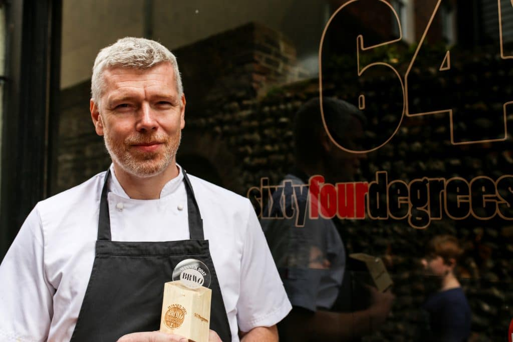 Michael Bremner outside 64 Degrees in Brighton - Winner of the best restaurant in Brighton award at the Brighton Restaurant Awards