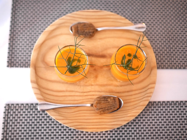 Rose & Crown, food pub review, Cuckfield, Sussex, Amuse bouche gazpacho with olive madeleines