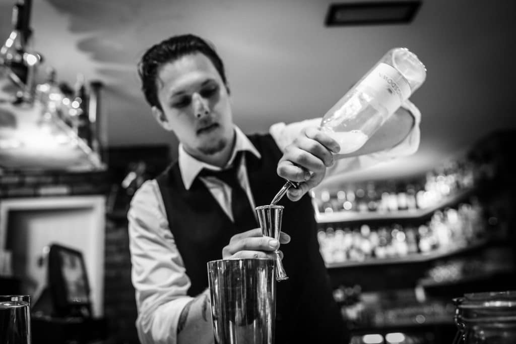 Black and white picture of Laurence at Hotel Du Vin - Bartender